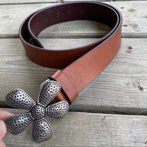 Silpada leather belt with silver DAISY buckle S